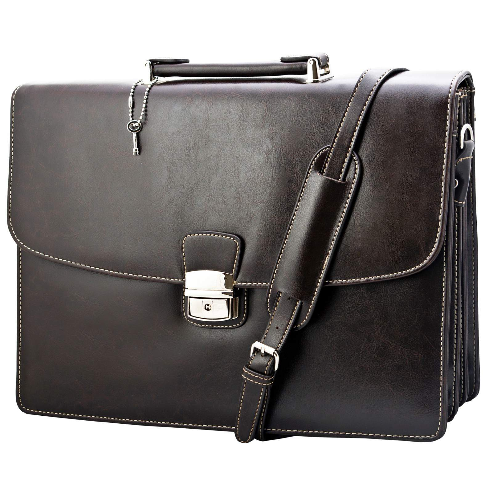Classic Vintage Professional Men's Leather Carrying Briefcase ...